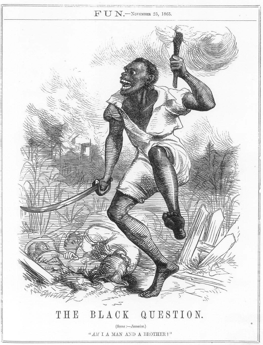"Figure 1. FUN.—November 25, 1865. The Black Question. (Scene: Jamaica): ""Am I a Man and a Brother?"""